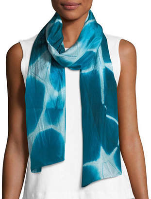 Eileen Fisher Shibori Silk Zigzag Pattern Scarf