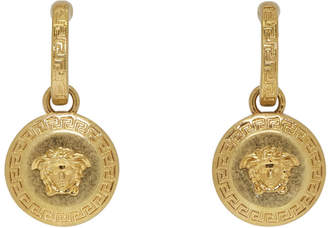 Versace Gold Small Medusa Coin Earrings