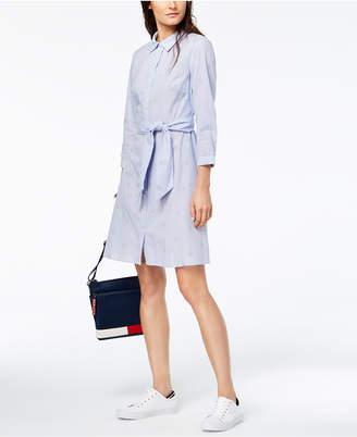 Tommy Hilfiger Cotton Embroidered-Stripe Tie-Belt Shirtdress