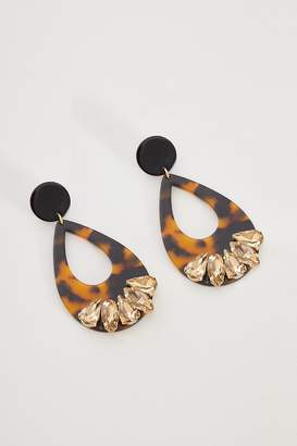 Quiz Brown Jewel Statement Earrings