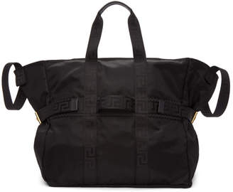 Versace Black Greek Taping Large Tote