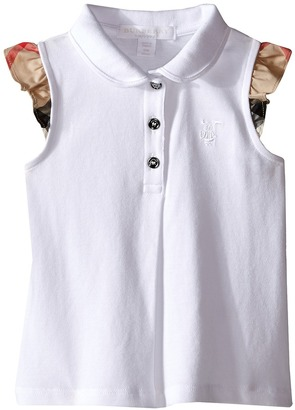 Burberry Kids - Polo with Short Flutter Sleeves Girl's Short Sleeve Knit $75 thestylecure.com