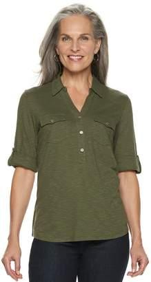 Croft & Barrow Women's Slubbed Roll-Tab Shirt