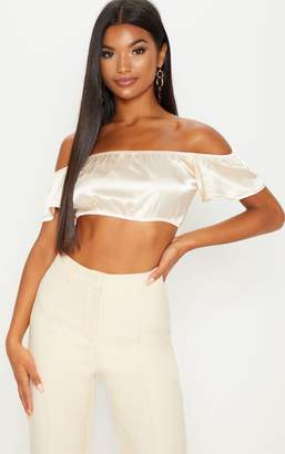 PrettyLittleThing Black Satin Bardot Crop Top