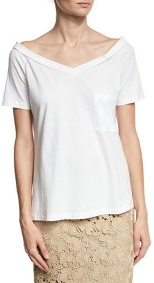 Robert Rodriguez Off-the-Shoulder V-Neck Tee, White $95 thestylecure.com