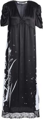 McQ Lace-trimmed Metallic Printed Silk-satin Midi Dress
