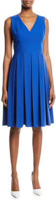 Michael Kors V-Neck Pleated Poplin Dress