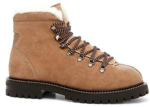Valentino Trekking Combat Boot with Genuine Shearling Trim