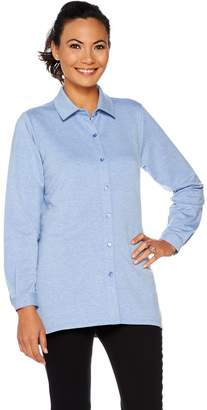 Joan Rivers Classics Collection Joan Rivers Micro French Terry Button Front Shirt