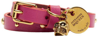 Alexander McQueen Pink Studded Skull Double Wrap Bracelet
