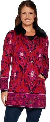 Isaac Mizrahi Live! Damask Jacquard Sweater Coat w/ Faux Fur Collar