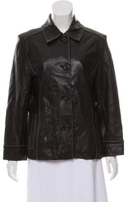 MICHAEL Michael Kors Button-Up Leather Jacket