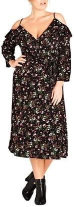 City Chic Pretty Floral Cold Shoulder Wrap Dress