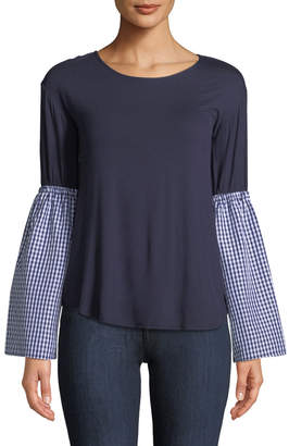 Couture Casual Gingham Bell-Sleeve Tee