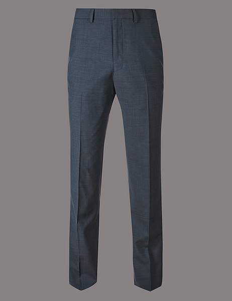 Checked Tailored Fit Wool Trousers