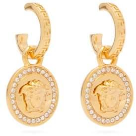 Versace Medusa Crystal Embellished Drop Earrings - Womens - Gold