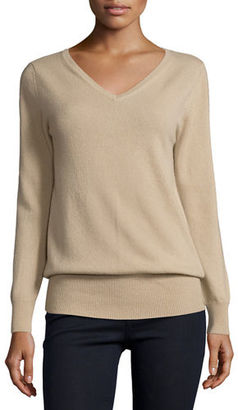 Neiman Marcus Cashmere Collection Long-Sleeve V-Neck Relaxed-Fit Cashmere Sweater $147 thestylecure.com