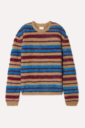 Ashish Oversized Metallic Striped Knitted Sweater - Blue