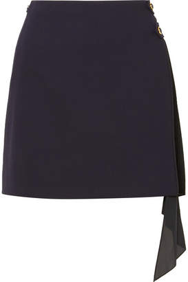 Givenchy Pleated Georgette-paneled Wool Mini Skirt - Navy