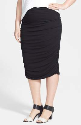 Vince Camuto Ruched Stretch Knit Midi Skirt