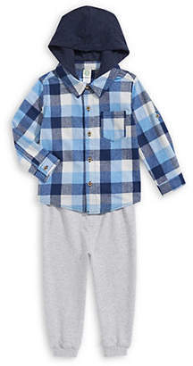 Little Me Little Boy's Two-Piece Flannel Shirt Jogger Pants Set