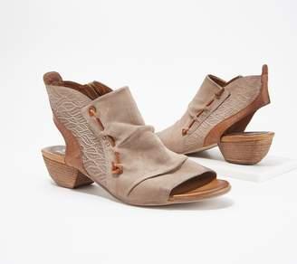 Miz Mooz Leather Peep-Toe Booties - Celia