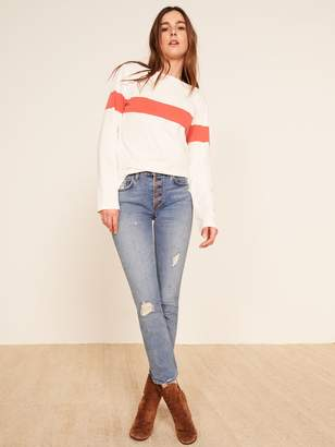 Reformation Winona Mid Slim Jean With Button Fly