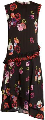 Preen Line Cassia pansy-print and striped crepe dress