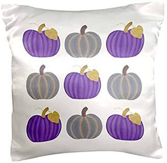 3dRose Painting of purple and Gray Pumpkins in a pattern, Pillow Case, 16 by 16-inch