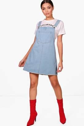 boohoo Drop Armhole Denim Pinafore Dress