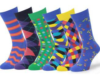 Easton Marlowe Mens - 6 PACK - Colorful Patterned Dress socks - 6pk , mixed - bright colors, 43-46 EU shoe