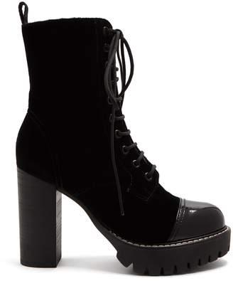 ALEXACHUNG Lace-up velvet boots
