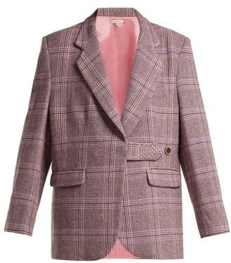 Natasha Zinko Single Breasted Tartan Wool Blend Blazer - Womens - Grey Multi
