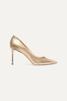 Jimmy Choo Romy 85 Mirrored-leather Pumps - Gold