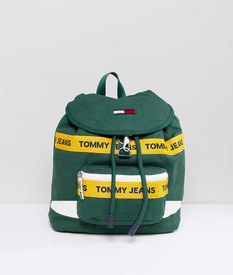 Tommy Jeans heritage backpack in canvas in dark green