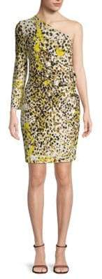 Roberto Cavalli Printed One-Shoulder Sheath Dress