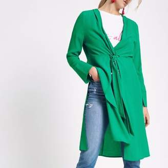 River Island Womens Green twist front side split kimono top