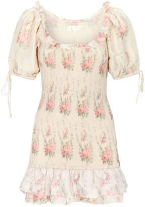LoveShackFancy Floral Violet Mini Dress