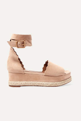 Chloé Lauren Suede Espadrille Platform Sandals - IT39