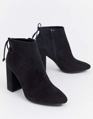 Pull&Bear faux suede heeled boot in black