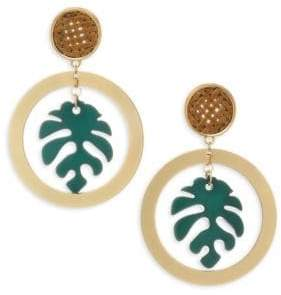 Ettika Palm Leaf& 18K Goldplated Drop Hoop Earrings