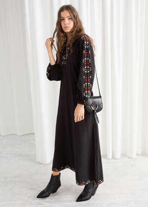 And other stories Embroidered Peasant Maxi Dress