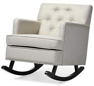 Baxton Studio Bethany Modern & Contemporary Fabric Upholstered Button-Tufted Rocking Chair