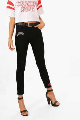 boohoo High Rise Floral Embroidery Skinny Jeans