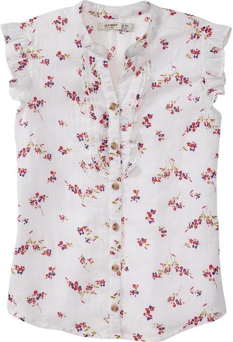 Old Navy Girls Printed-Ruffle Button-Front Tops