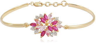 FINE JEWELRY 14K Gold over Silver Lab-Created Ruby and Pink & White Lab-Created Sapphire Flower Bangle Bracelet
