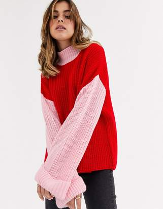 Glamorous jumper with contrast sleeves