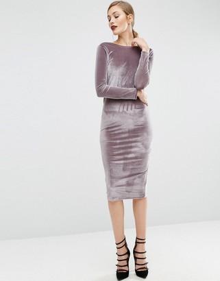 ASOS Long Sleeve Velvet Wrap Back Midi Dress $46 thestylecure.com