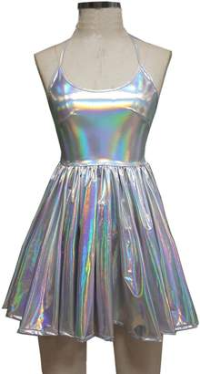 Pinda Summer Musical Festival Rave Clothes Holographic Chocker Skater Dress Two Piece Sets (L, )
