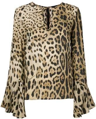 Class Roberto Cavalli flared sleeved leopard blouse